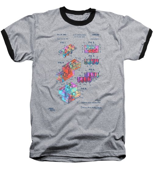 Baseball T-Shirt featuring the digital art Colorful 1961 Toy Building Brick Patent Art by Nikki Marie Smith