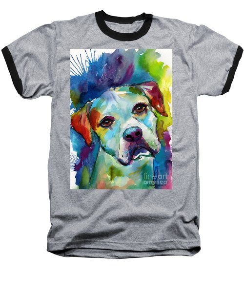 Colorful American Bulldog Dog Baseball T-Shirt