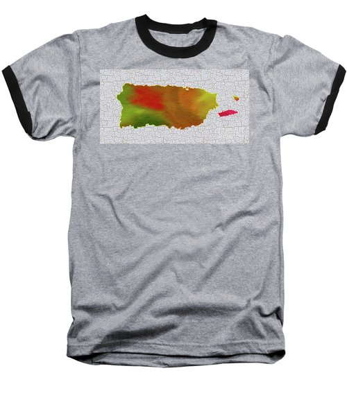 Colorful Art Puerto Rico Map Baseball T-Shirt