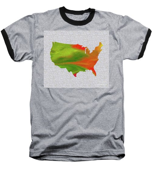 Colorful Art Usa Map Baseball T-Shirt