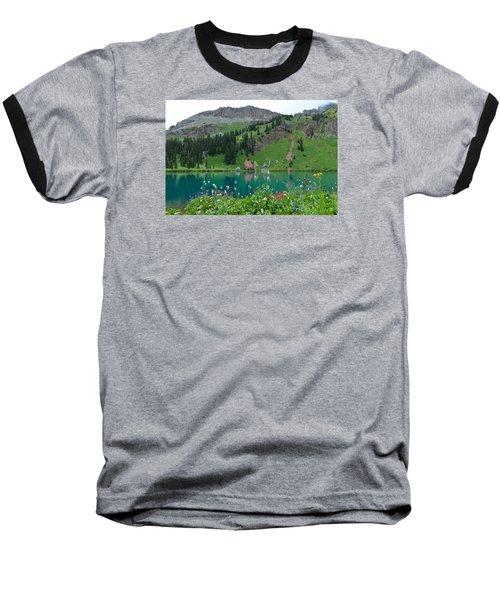 Colorful Blue Lakes Landscape Baseball T-Shirt