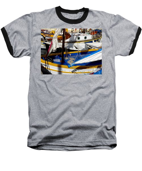 Colorful Boats Baseball T-Shirt by Lainie Wrightson