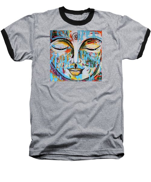 Colorful Buddha Baseball T-Shirt by Theresa Marie Johnson
