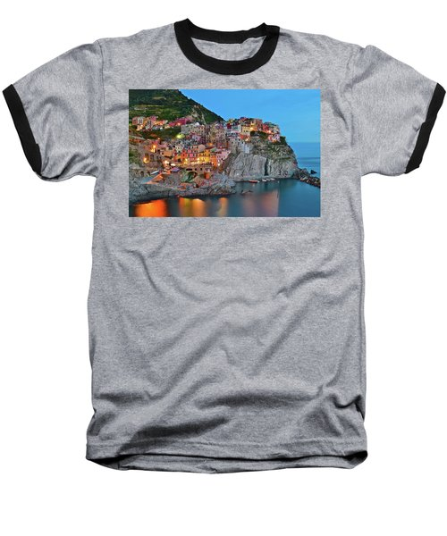 Baseball T-Shirt featuring the photograph Colorful Buildings Colorful Lights by Frozen in Time Fine Art Photography