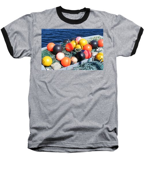 Baseball T-Shirt featuring the photograph Colorful Buoys by Barbara Griffin