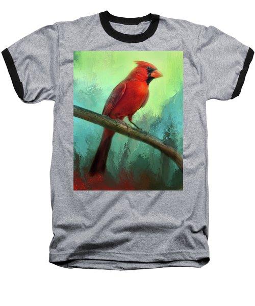 Colorful Cardinal Baseball T-Shirt by Barbara Manis