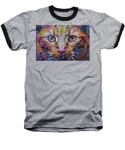 Colorful Cat Art Baseball T-Shirt by Peggy Collins