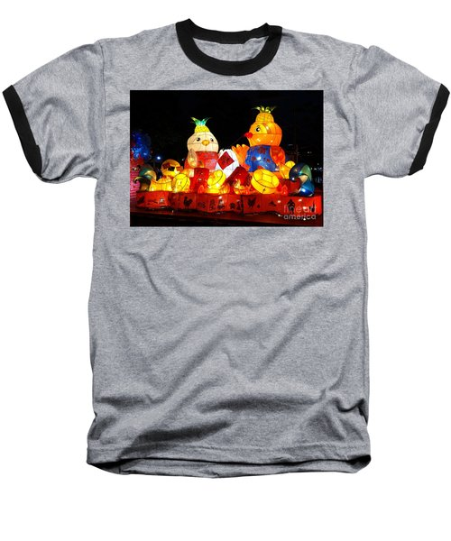 Baseball T-Shirt featuring the photograph Colorful Chinese Lanterns In The Shape Of Chickens by Yali Shi