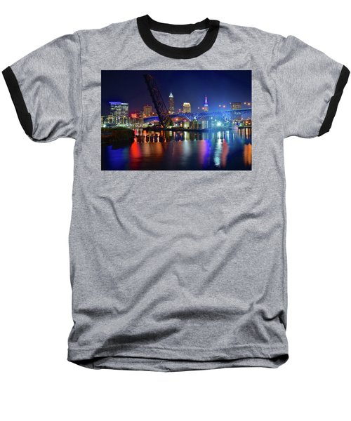 Baseball T-Shirt featuring the photograph Colorful Cleveland Lights Shimmer Bright by Frozen in Time Fine Art Photography