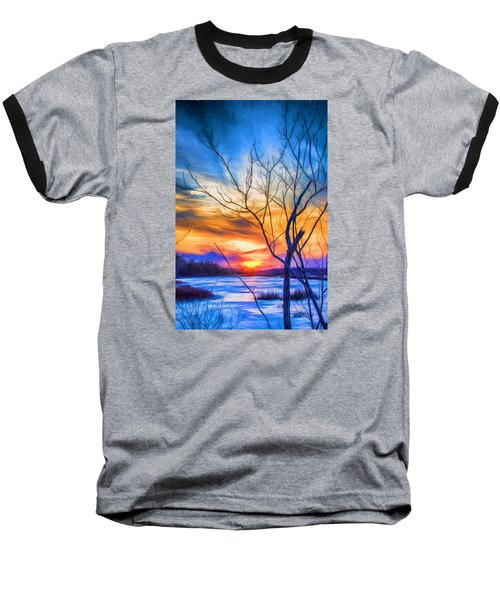 Colorful Cold Sunset Baseball T-Shirt