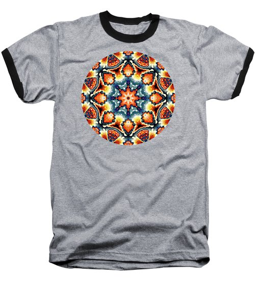 Colorful Concentric Motif Baseball T-Shirt by Phil Perkins