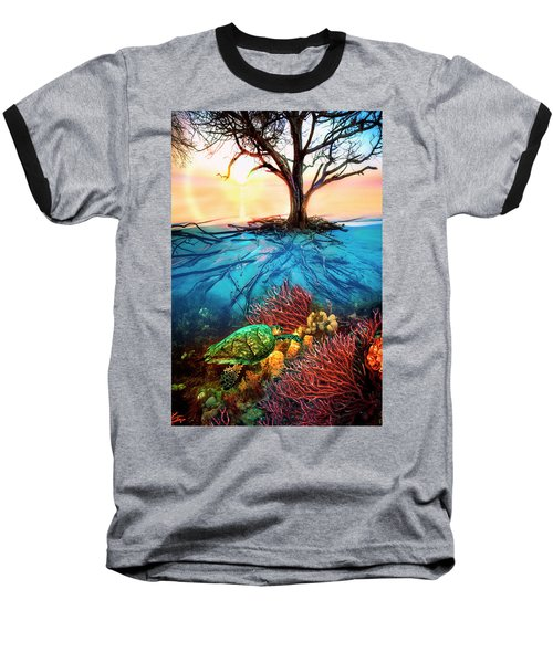 Baseball T-Shirt featuring the photograph Colorful Coral Seas by Debra and Dave Vanderlaan