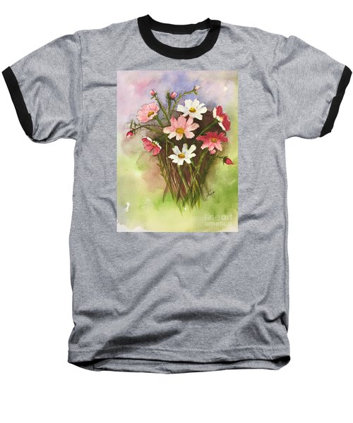 Baseball T-Shirt featuring the painting Colorful Cosmos by Lucia Grilletto