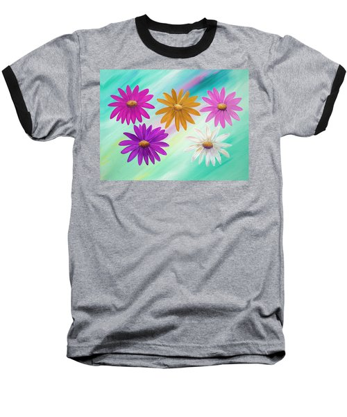Baseball T-Shirt featuring the mixed media Colorful Daisies by Elizabeth Lock