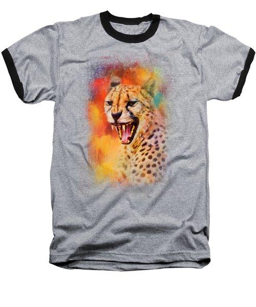 Colorful Expressions Cheetah 2 Baseball T-Shirt by Jai Johnson
