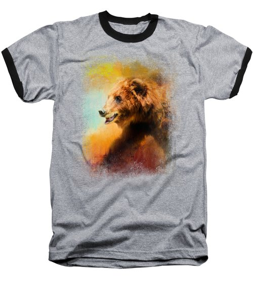 Colorful Expressions Grizzly Bear Baseball T-Shirt by Jai Johnson
