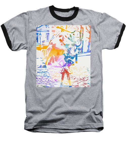 Baseball T-Shirt featuring the painting Colorful Fearless Girl by Dan Sproul