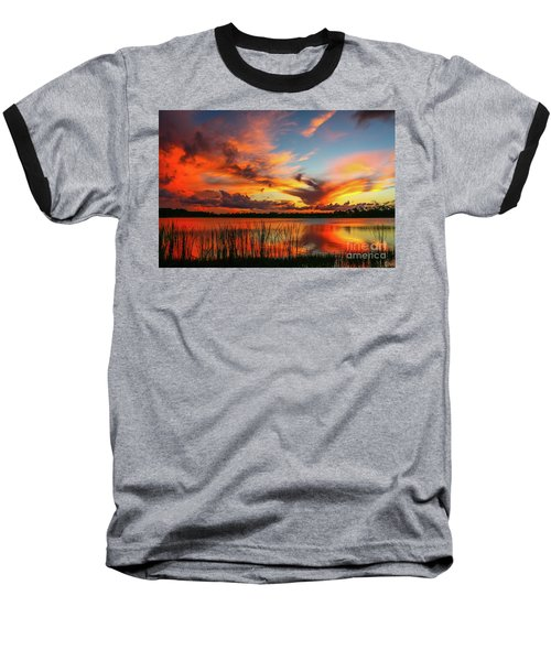 Colorful Fort Pierce Sunset Baseball T-Shirt by Tom Claud