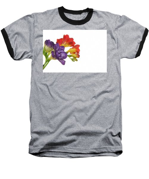 Colorful Freesias Baseball T-Shirt by Elvira Ladocki