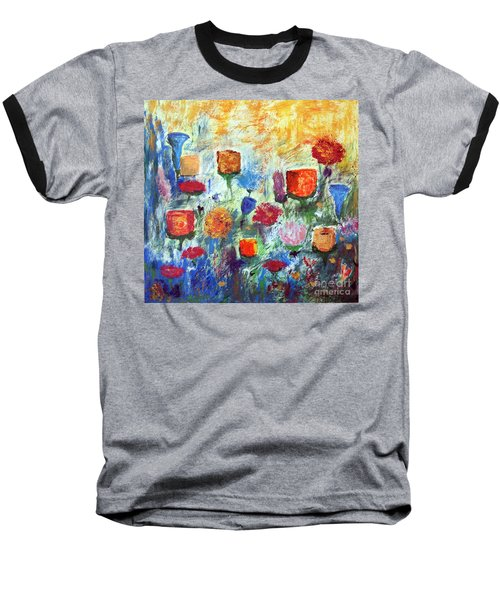 Baseball T-Shirt featuring the painting Colorful Garden by Haleh Mahbod