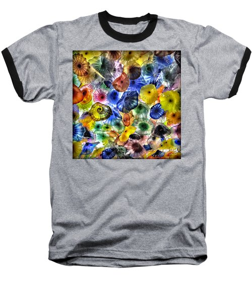 Colorful Glass Ceiling In Bellagio Lobby Baseball T-Shirt by Walt Foegelle
