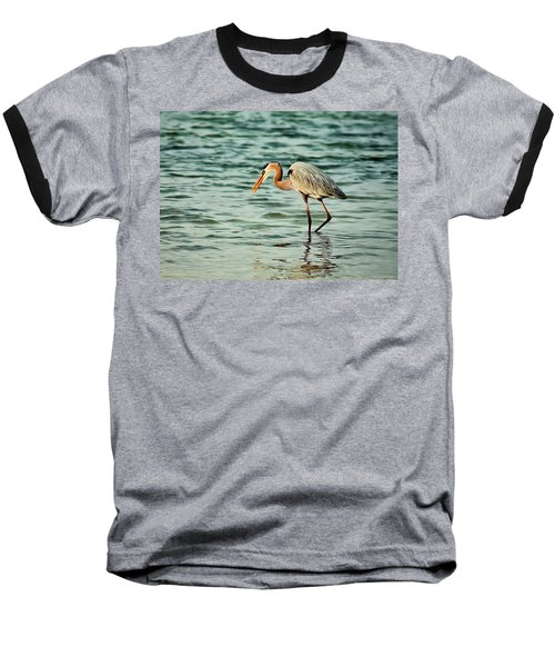 Colorful Heron Baseball T-Shirt
