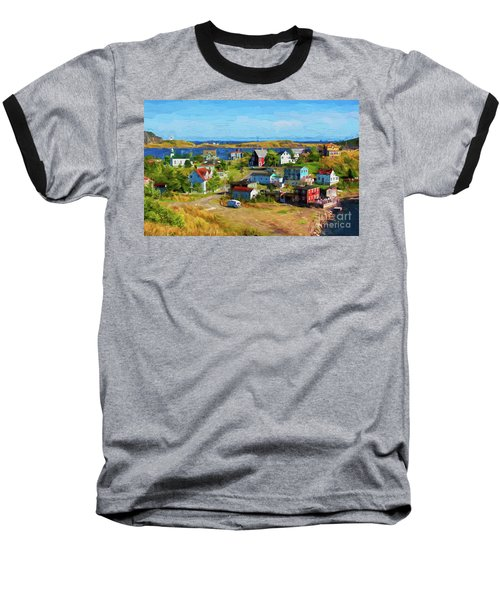 Colorful Homes In Trinity, Newfoundland - Painterly Baseball T-Shirt by Les Palenik