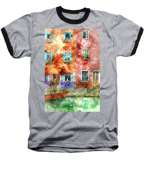 Colorful Houses In Burano Island, Venice Baseball T-Shirt