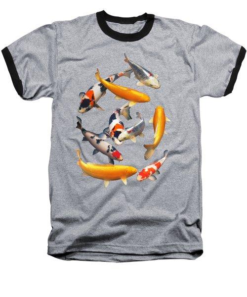 Colorful Japanese Koi Vertical Baseball T-Shirt by Gill Billington