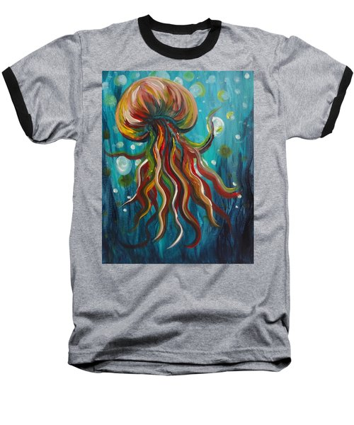 Colorful Jellyfish Baseball T-Shirt