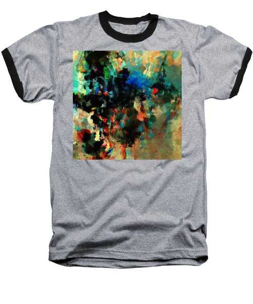 Colorful Landscape / Cityscape Abstract Painting Baseball T-Shirt by Ayse Deniz