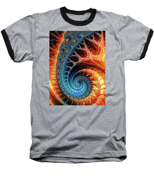 Colorful Luxe Fractal Spiral Turquoise Brown Orange Baseball T-Shirt by Matthias Hauser