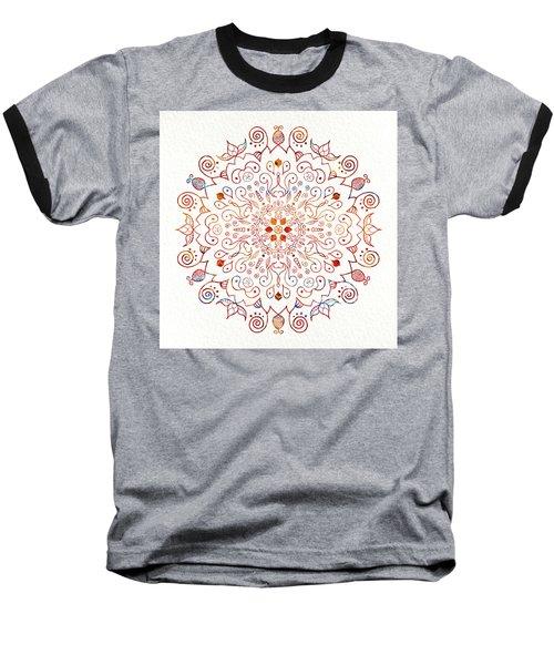 Colorful Mandala On Watercolor Paper Baseball T-Shirt
