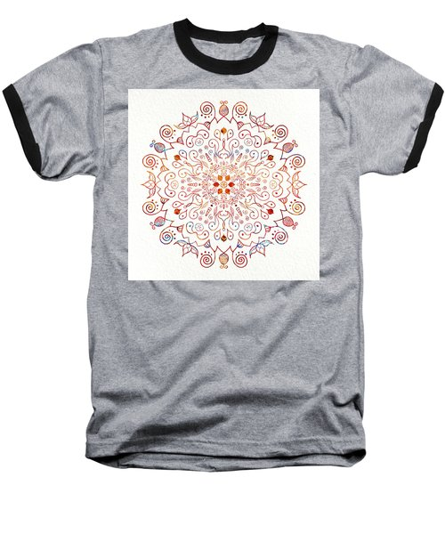Colorful Mandala On Watercolor Paper Baseball T-Shirt