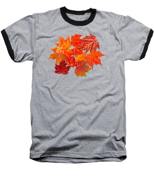 Colorful Maple Leaves Baseball T-Shirt by Christina Rollo