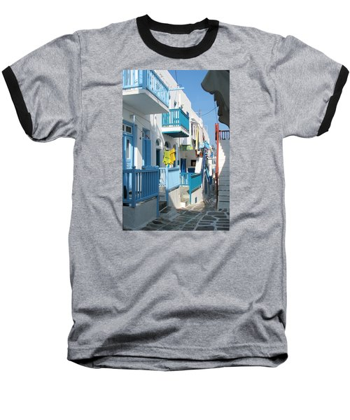 Baseball T-Shirt featuring the photograph Colorful Mykonos by Carla Parris