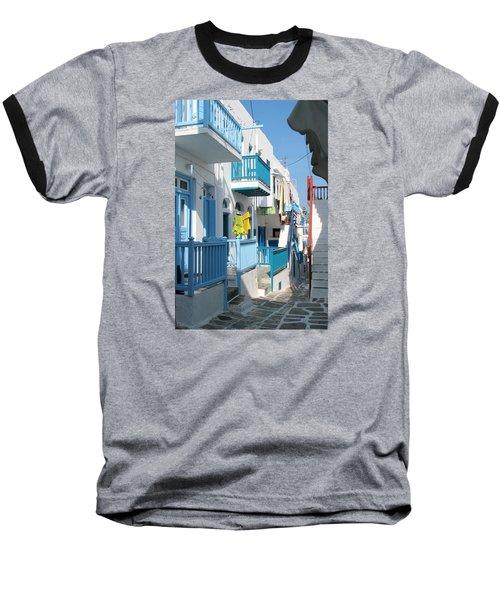 Colorful Mykonos Baseball T-Shirt by Carla Parris