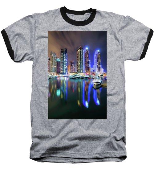 Colorful Night Dubai Marina Skyline, Dubai, United Arab Emirates Baseball T-Shirt
