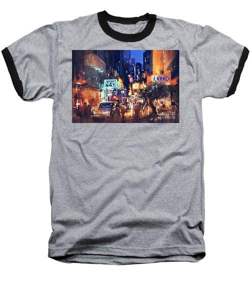 Colorful Night Street Baseball T-Shirt