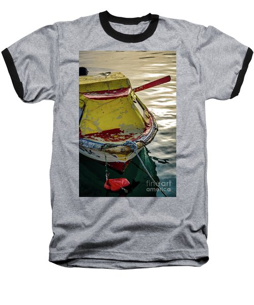 Colorful Old Red And Yellow Boat During Golden Hour In Croatia Baseball T-Shirt