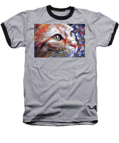 Colorful Orange Cat Art Baseball T-Shirt