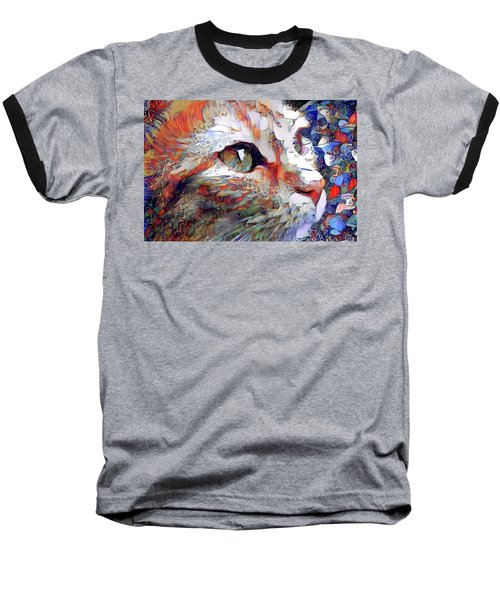 Colorful Orange Cat Art Baseball T-Shirt