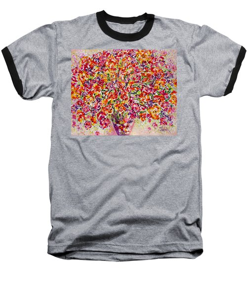Baseball T-Shirt featuring the painting Colorful Organza by Natalie Holland