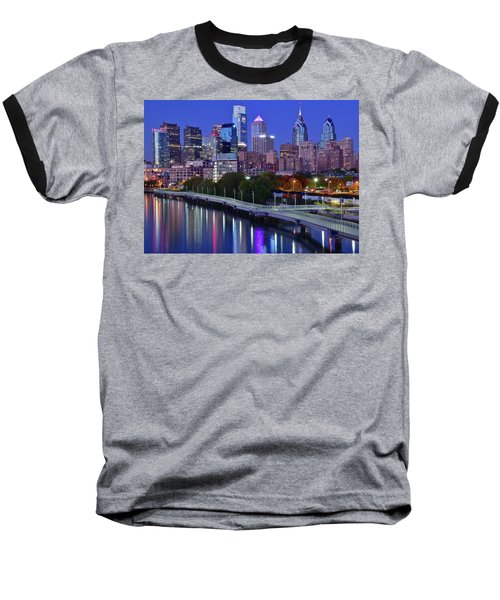 Baseball T-Shirt featuring the photograph Colorful Philly Night Lights by Frozen in Time Fine Art Photography