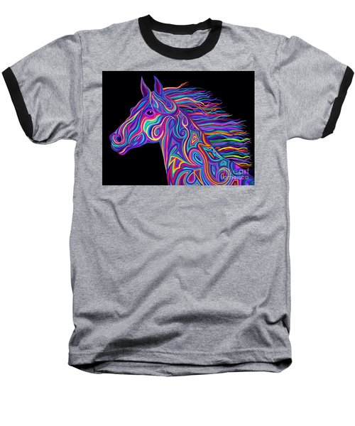 Baseball T-Shirt featuring the drawing Colorful Rainbow Stallion  by Nick Gustafson