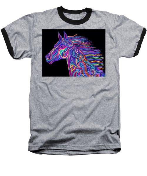Colorful Rainbow Stallion  Baseball T-Shirt