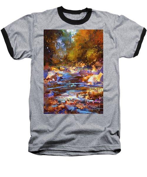 Colorful River Baseball T-Shirt