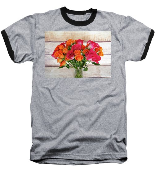 Colorful Rose Bouquet Baseball T-Shirt