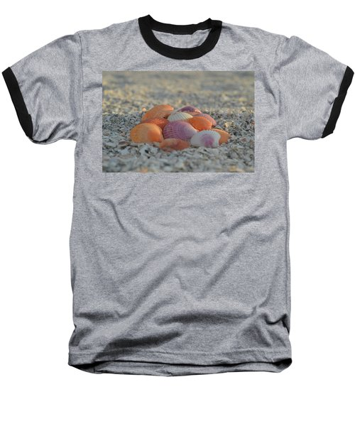 Colorful Scallop Shells Baseball T-Shirt