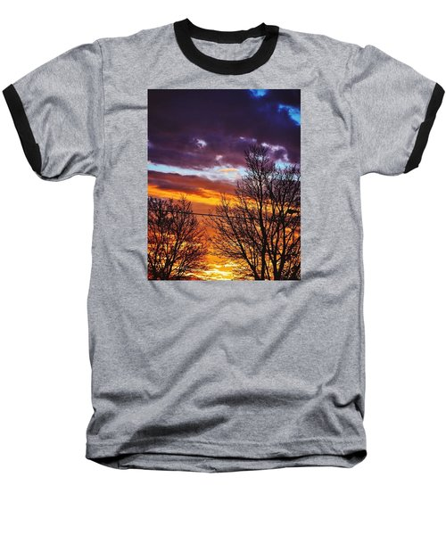 Colorful Skies Baseball T-Shirt by Nikki McInnes